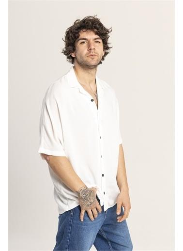 XHAN Kahverengi Desenli Oversize Gömlek 1Kxe2-44813-18 Beyaz